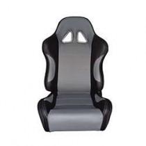 Καθίσματα Ανακλινόμενα Bucket Δερματίνη Μαύρο-Γκρί(1Τμχ)