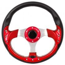 Τιμόνι Αυτοκινήτου Σπόρ 32Cm Μαύρο-Κόκκινο