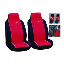 Κάλυμμα Δερματίνη Autoline Pu Tuning Μπροστινά Μαύρο-Κόκκινο