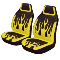 Κάλυμμα Υφασμάτινο Autoline Yellow Flames Μπροστινά Μαύρο-Κίτρινο 2τμχ
