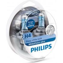 Λάμπες PHILIPS H4 White Vision Ultra 12V 55W(Sharp White Look) εως 4200Κ +2 W5W 2τμχ