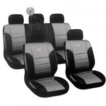 Κάλυμμα Δερματίνη Autoline Luxury Σετ 9τμχ Μαύρο-Γκρι