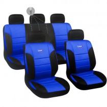 Κάλυμμα Δερματίνη Autoline Luxury Σετ 9τμχ Μαύρο-Μπλε