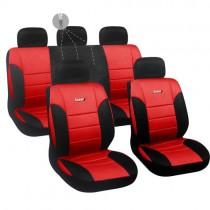 Κάλυμμα Δερματίνη Autoline Luxury Σετ 9τμχ Μαύρο-Κόκκινο