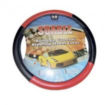 Κάλυμμα Τιμονιού Δερματίνη Soable Autoline 38Cm Μαύρο-Κόκκινο