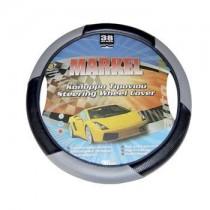 Κάλυμμα Τιμονιού Δερματίνη Markel Autoline 38Cm Μαύρο-Γκρί