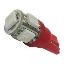 Λάμπα Led T10 Με 5 Smd 5050 1Τμχ - Κόκκινο