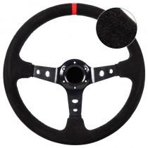 Τιμόνι Αυτοκινήτου Βαθύ Suede 35cm Μαύρο-Κόκκινο