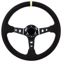 Τιμόνι Αυτοκινήτου Βαθύ Suede 35cm  Μαύρο-Κίτρινο