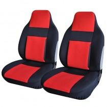 Κάλυμμα Υφασμάτινο Autoline Easy Fit Μπροστινά Μαύρο-Κόκκινο 2τμχ