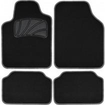 Μοκέτα Πατάκι Σέτ 4τμχ Classic Colors Με Ρέλι  Μαύρο Γκρί