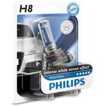 Λάμπες PHILIPS H8 White Vision 12V 35W 3500K 60% Περισσότερο Φως 1Τμχ