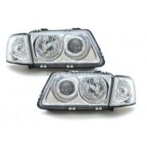 Φανάρια Εμπρός Χρωμίου Angel Eyes για Audi A3 (1996-2000) - Ψυχρό Λευκό