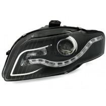 Φανάρια εμπρός Led χρωμίου-μαύρα για Audi A4 B7 (2004-2008)