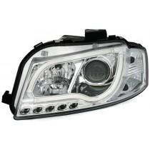 Φανάρια Εμπρός Led Lightbar Design Χρωμίου για Audi A3 (2003-2008)