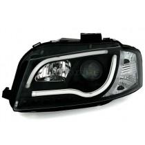 Φανάρια Εμπρός Led Lightbar Design Μαύρα για Audi A3 (2008-2012)