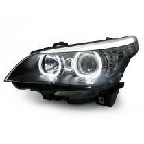 Φανάρια εμπρός μαύρα Angel Eyes Led για BMW E60 (2003-2007)
