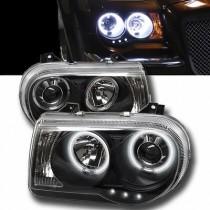 Φανάρια εμπρός χρωμίου Angel Eyes με Led για Chrysler 300C (2004-2008)