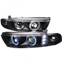 Φανάρια εμπρός Led μαύρα angel eyes για Mitsubishi Galant (1996-2006)