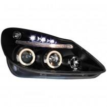 Φανάρια εμπρός Led Angel Eyes μαύρα για Opel Corsa D (2006-2010)