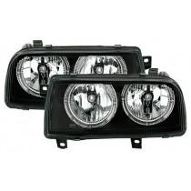 Φανάρια εμπρός Angel Eyes μαύρα για VW Vento (1991-1998)