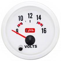 Όργανο Auto Gauge Βολτόμετρο Λευκό 7 Colors