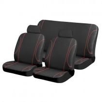 Κάλυμμα Σετ 5τμχ Υφασμάτινο Autoline Colour Line-Μαύρο-Κόκκινο