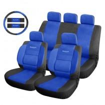 Κάλυμμα Δερματίνη Autoline Safari Σετ 9τμχ Μαύρο-Μπλε + ΔΩΡΟ Κερί Προστασίας Βαφής Briteline 500ml