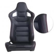 Κάθισμα Αγωνιστικό Δερματίνη Ανακλινόμενο Μαύρο Κόκκινη Ραφή 1τμχ