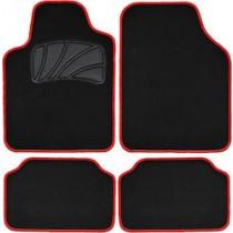 Μοκέτα Πατάκι Σέτ 4τμχ Classic Colors Με Ρέλι  Μαύρο Κόκκινο