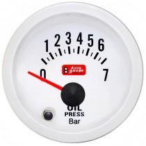 Όργανο Auto Gauge Πίεση Λαδιού Λευκό 7 Colors