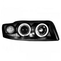 Φανάρια εμπρός  Αngel Εyes μαύρα για Audi A4 (2001-2004)