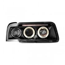 Φανάρια εμπρός Angel Eyes μαύρα για Audi 80 B4 (1991-1994)