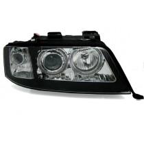 Φανάρια εμπρός Angel Eyes μαύρα για Audi A6 (1997-2001)