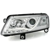 Φανάρια εμπρός χρωμίου Led Lightbar για Audi A6 C4 (2004-2008)