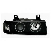 Φανάρια εμπρός μαύρα Angel Eyes για Bmw E36 (1991-1999) 4d Sedan