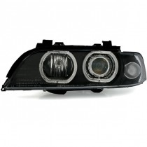 Φανάρια εμπρός μαύρα Angel Eyes με Led δαχτυλίδια για BMW E39 (1995-2000)